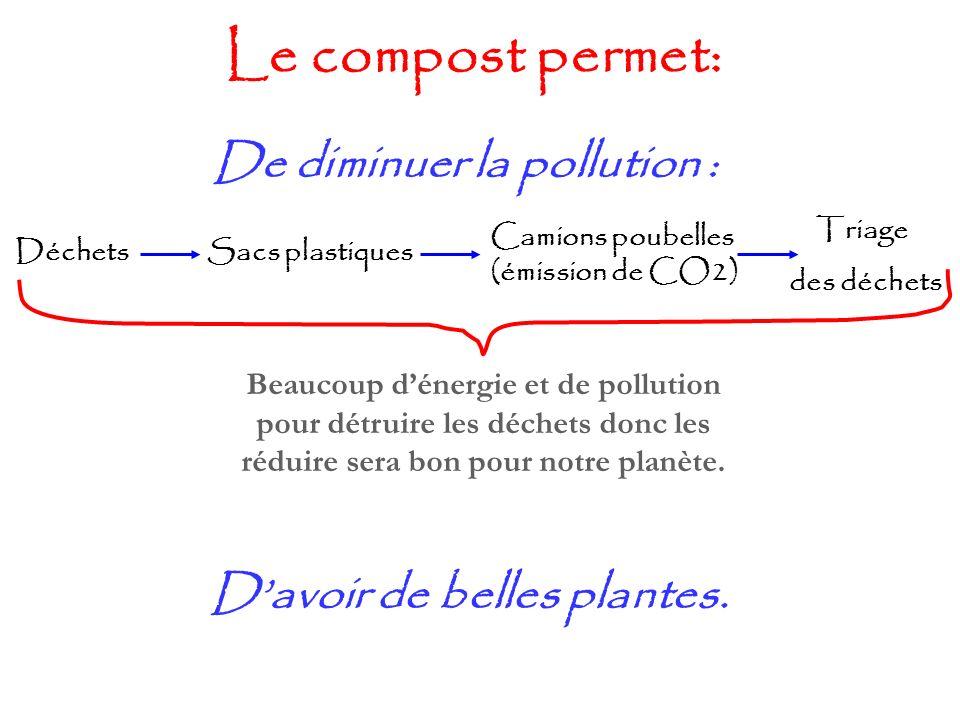 Le compost permet: De diminuer la pollution : DéchetsSacs plastiques Camions poubelles (émission de CO2) Triage des déchets Beaucoup dénergie et de po