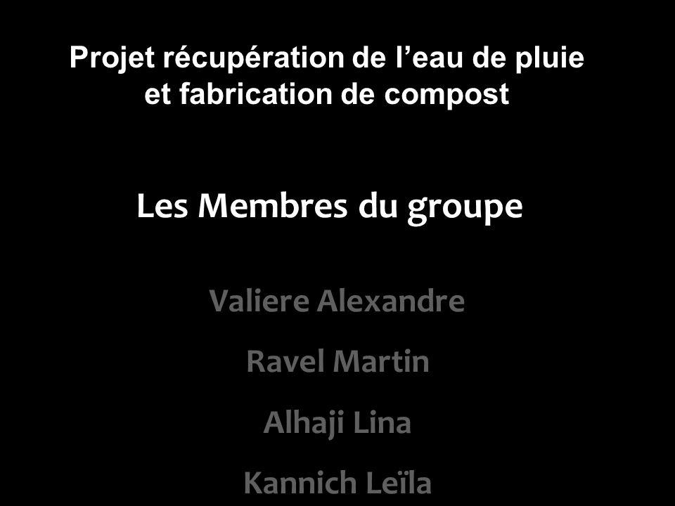 Les Membres du groupe Valiere Alexandre Ravel Martin Alhaji Lina Kannich Leïla Projet récupération de leau de pluie et fabrication de compost