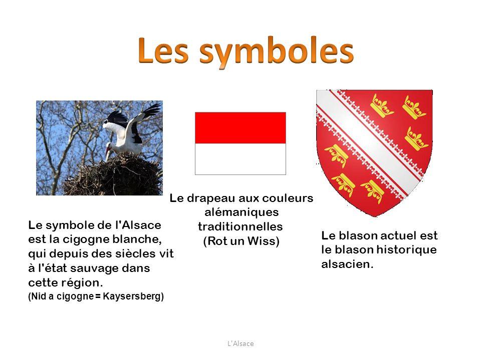 Le symbole de l'Alsace est la cigogne blanche, qui depuis des siècles vit à l'état sauvage dans cette région. (Nid a cigogne = Kaysersberg) Le drapeau