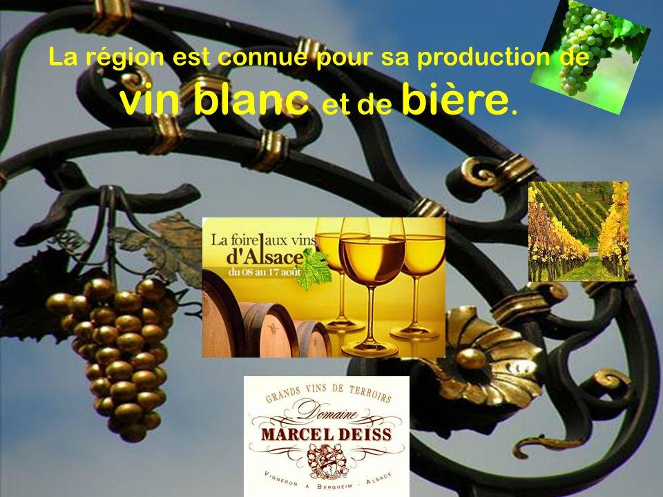 La région est connue pour sa production de vin blanc et de bière. L'Alsce