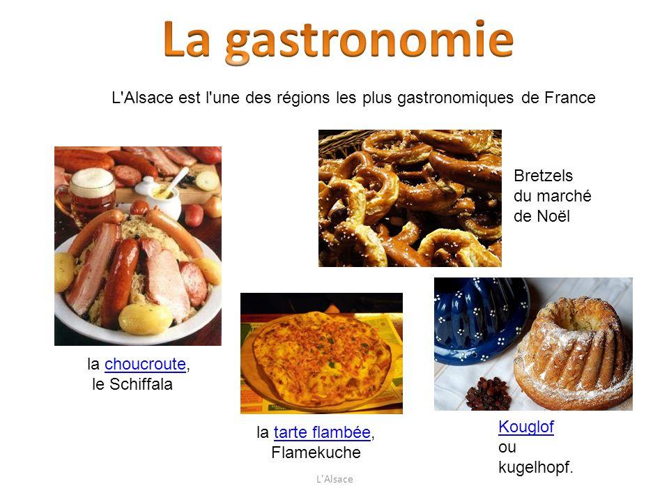 L'Alsace est l'une des régions les plus gastronomiques de France la tarte flambée,tarte flambée Flamekuche la choucroute,choucroute le Schiffala Kougl