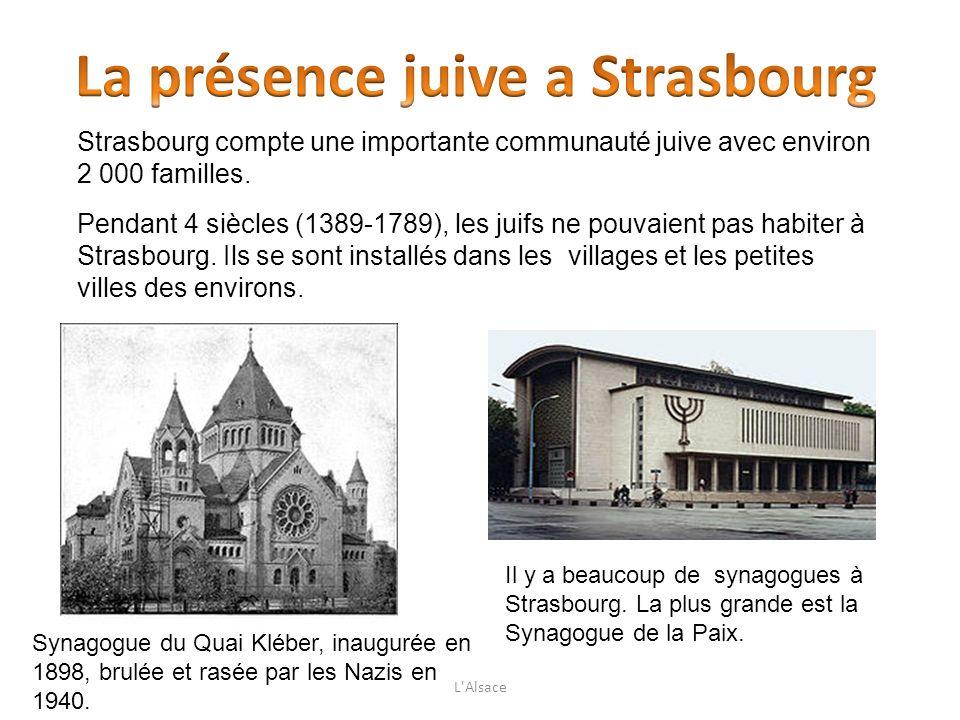 Strasbourg compte une importante communauté juive avec environ 2 000 familles. Pendant 4 siècles (1389-1789), les juifs ne pouvaient pas habiter à Str