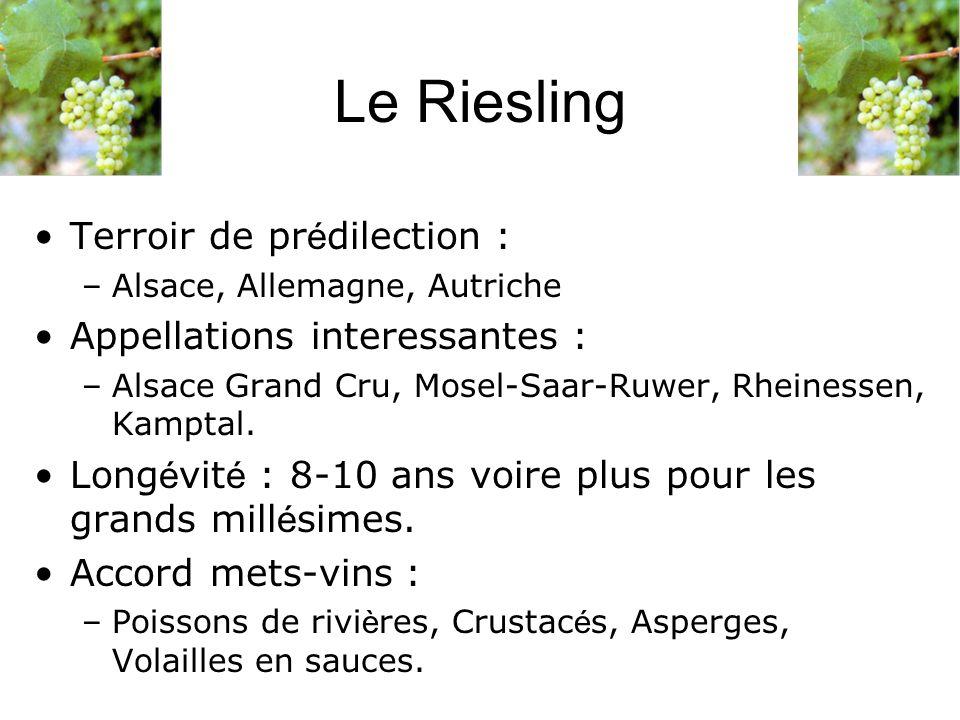 Terroir de pr é dilection : –Alsace, Allemagne, Autriche Appellations interessantes : –Alsace Grand Cru, Mosel-Saar-Ruwer, Rheinessen, Kamptal. Long é