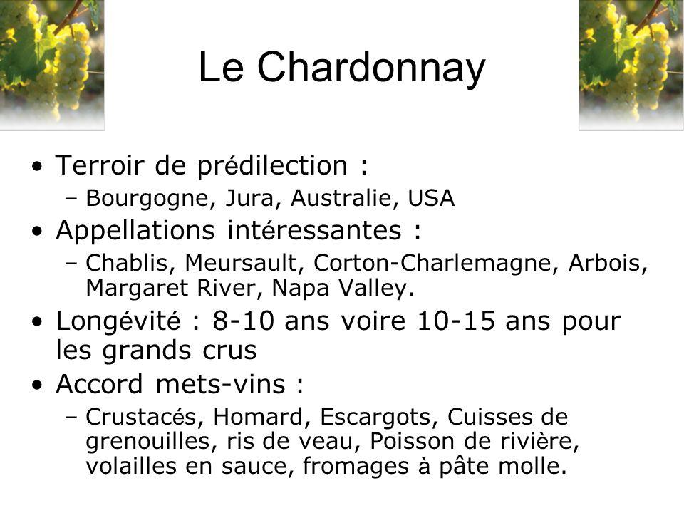 Terroir de pr é dilection : –Bourgogne, Jura, Australie, USA Appellations int é ressantes : –Chablis, Meursault, Corton-Charlemagne, Arbois, Margaret