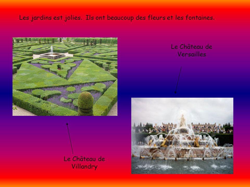 Les jardins est jolies. Ils ont beaucoup des fleurs et les fontaines. Le Château de Villandry Le Château de Versailles