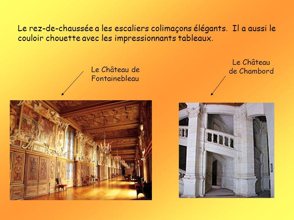 Le rez-de-chaussée a les escaliers colimaçons élégants. Il a aussi le couloir chouette avec les impressionnants tableaux. Le Château de Fontainebleau