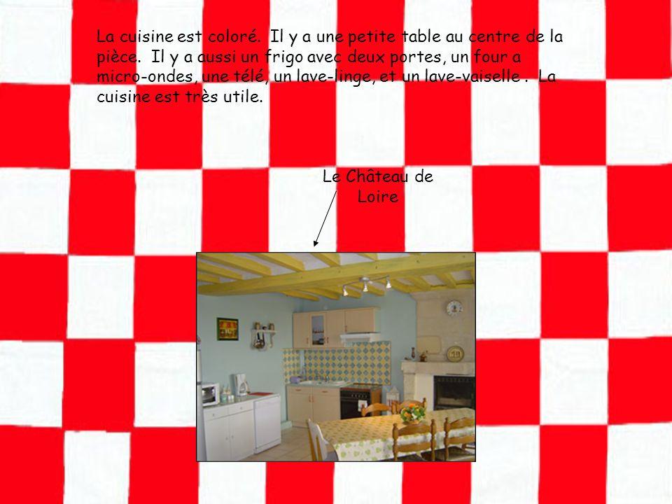 La cuisine est coloré. Il y a une petite table au centre de la pièce. Il y a aussi un frigo avec deux portes, un four a micro-ondes, une télé, un lave