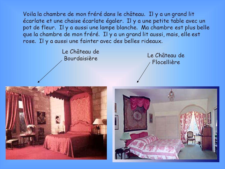 Voila la chambre de mon fréré dans le château. Il y a un grand lit écarlate et une chaise écarlate égaler. Il y a une petite table avec un pot de fleu