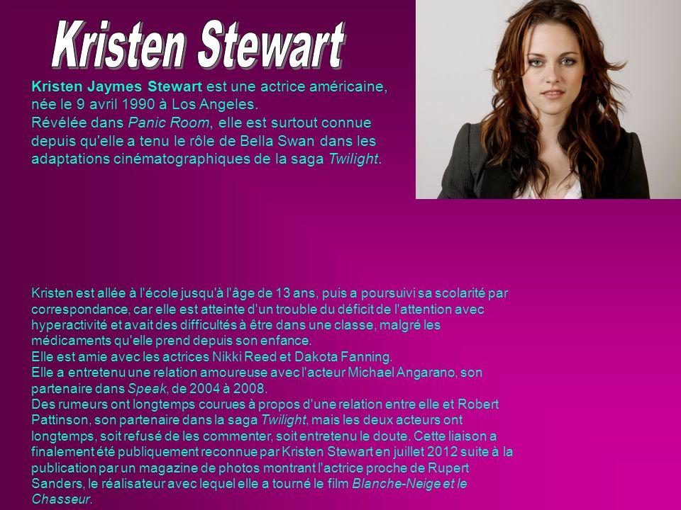 Kristen Jaymes Stewart est une actrice américaine, née le 9 avril 1990 à Los Angeles. Révélée dans Panic Room, elle est surtout connue depuis qu'elle