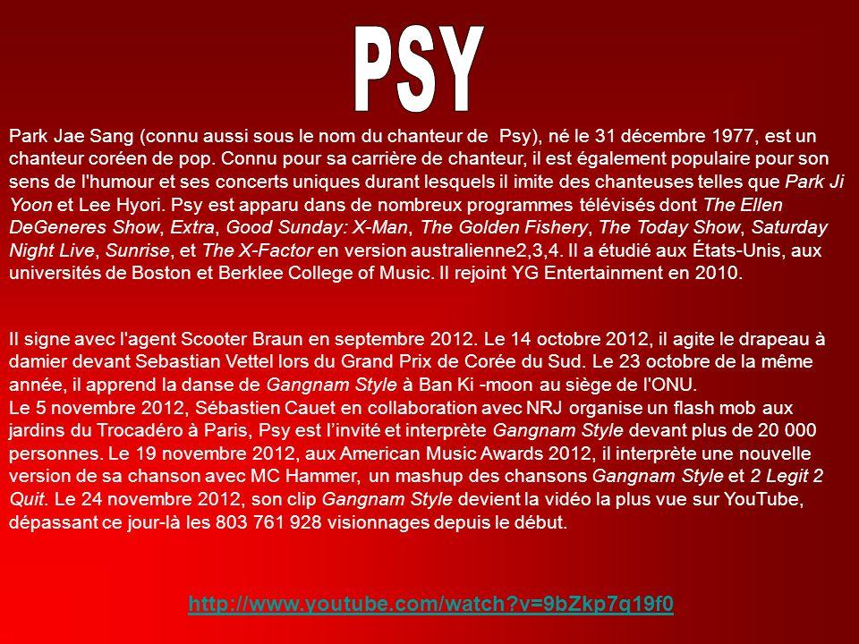 Park Jae Sang (connu aussi sous le nom du chanteur de Psy), né le 31 décembre 1977, est un chanteur coréen de pop. Connu pour sa carrière de chanteur,