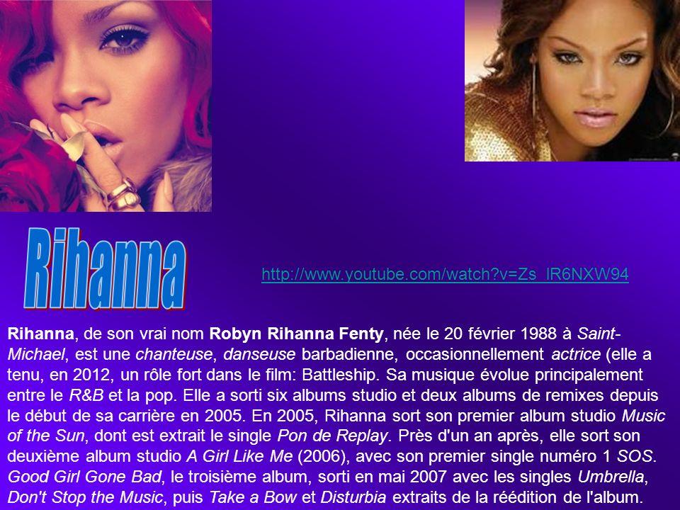 Rihanna, de son vrai nom Robyn Rihanna Fenty, née le 20 février 1988 à Saint- Michael, est une chanteuse, danseuse barbadienne, occasionnellement actr