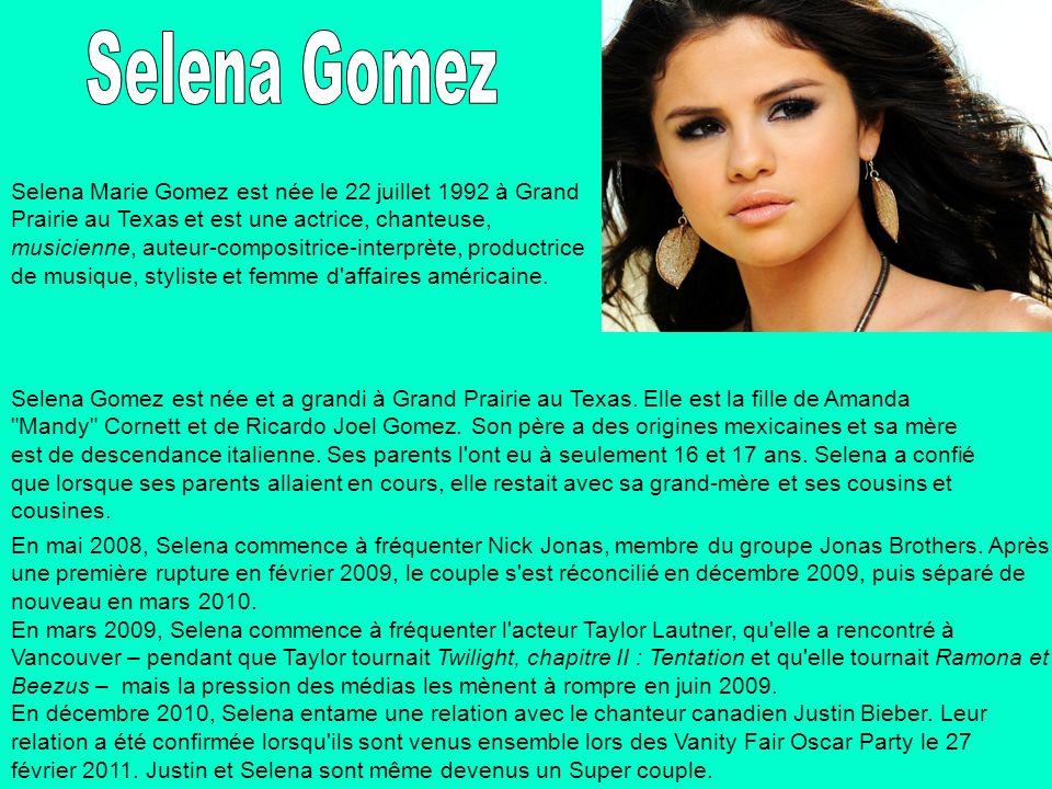 Selena Marie Gomez est née le 22 juillet 1992 à Grand Prairie au Texas et est une actrice, chanteuse, musicienne, auteur-compositrice-interprète, prod