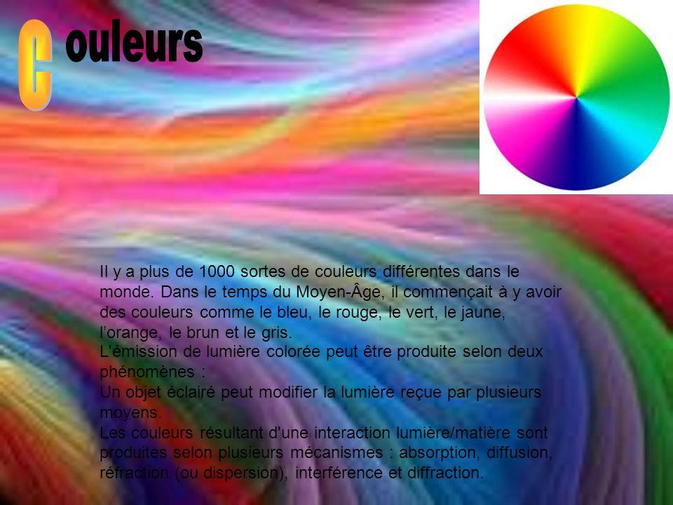 Il y a plus de 1000 sortes de couleurs différentes dans le monde. Dans le temps du Moyen-Âge, il commençait à y avoir des couleurs comme le bleu, le r