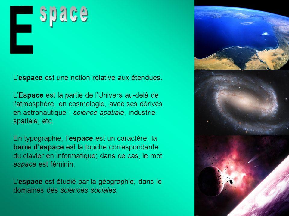 Lespace est une notion relative aux étendues. LEspace est la partie de lUnivers au-delà de latmosphère, en cosmologie, avec ses dérivés en astronautiq