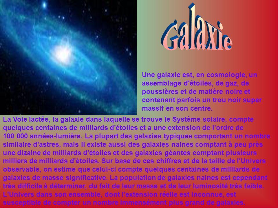 Une galaxie est, en cosmologie, un assemblage d'étoiles, de gaz, de poussières et de matière noire et contenant parfois un trou noir super massif en s
