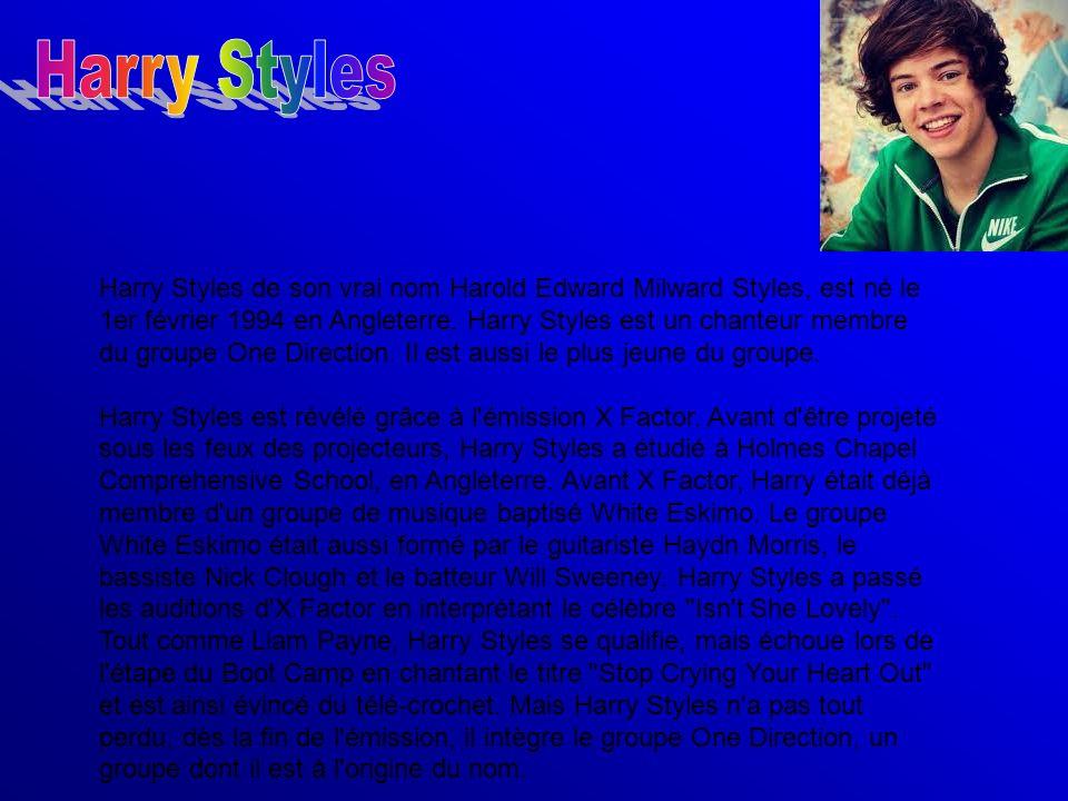 Harry Styles de son vrai nom Harold Edward Milward Styles, est né le 1er février 1994 en Angleterre. Harry Styles est un chanteur membre du groupe One