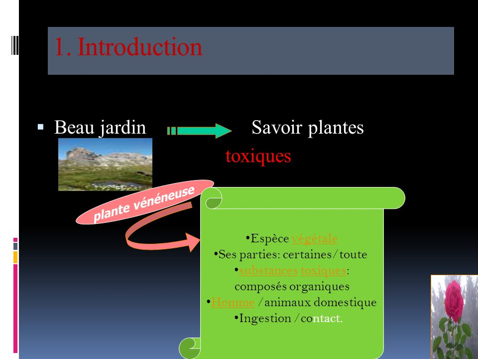 1. Introduction 2. Classification selon le principe actif 3. Principales plantes toxiques en Algérie