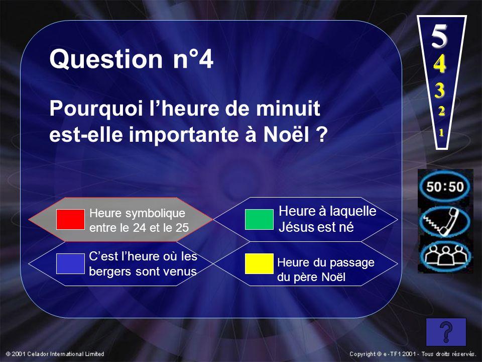 1 2 3 4 5 Question n°4 Pourquoi lheure de minuit est-elle importante à Noël ? Cest lheure où les bergers sont venus Heure à laquelle Jésus est né Heur