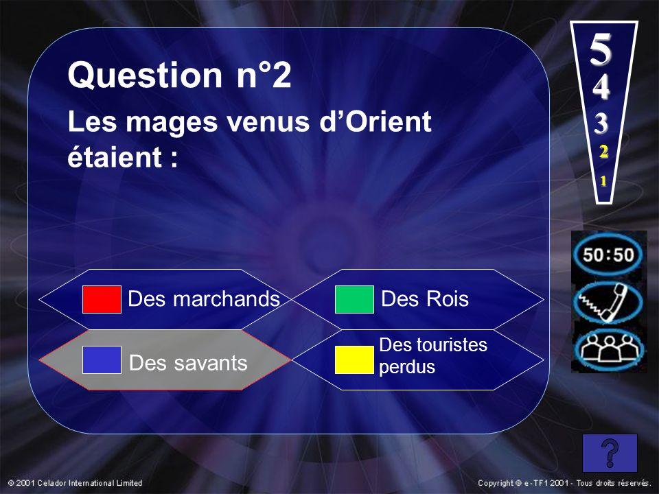 1 2 3 4 5 Question n°2 Les mages venus dOrient étaient : Des Rois Des touristes perdus Des marchands Des savants