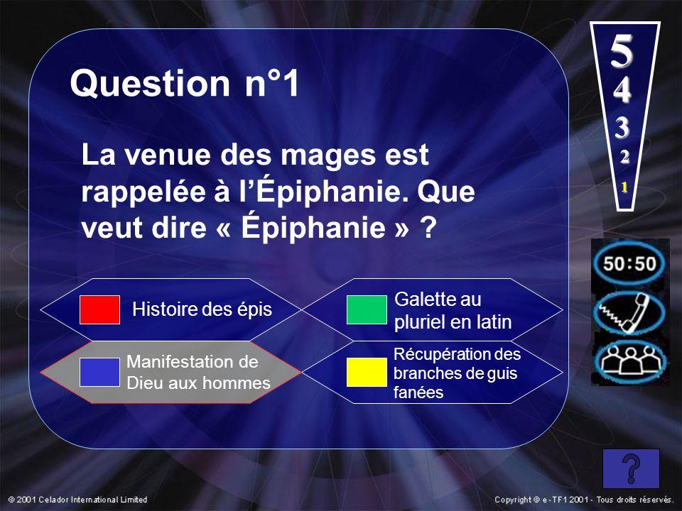4 5 Question n°1 La venue des mages est rappelée à lÉpiphanie. Que veut dire « Épiphanie » ? Manifestation de Dieu aux hommes Galette au pluriel en la