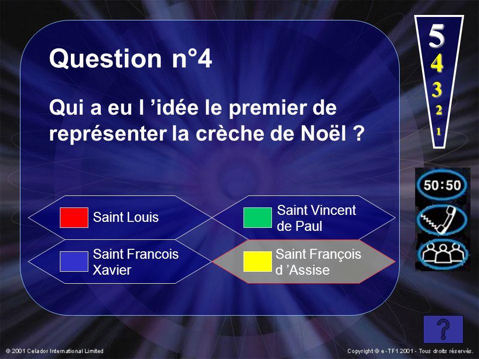 1 2 3 4 5 Question n°4 Qui a eu l idée le premier de représenter la crèche de Noël ? Saint Francois Xavier Saint Vincent de Paul Saint François d Assi