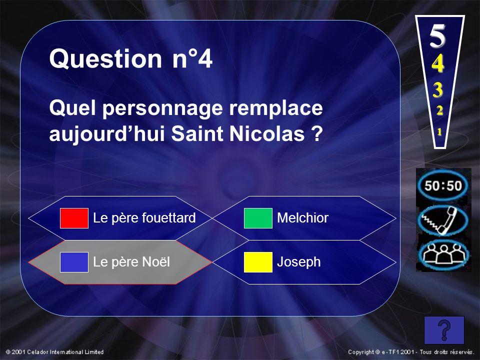 1 2 3 5 Question n°4 Quel personnage remplace aujourdhui Saint Nicolas ? Le père Noël Melchior Joseph Le père fouettard 4