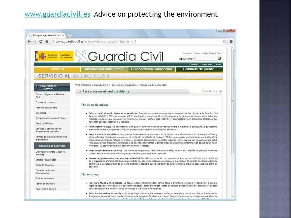 www.guardiacivil.eswww.guardiacivil.es Advice on protecting the environment
