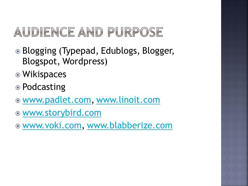 Blogging (Typepad, Edublogs, Blogger, Blogspot, Wordpress) Wikispaces Podcasting www.padlet.com, www.linoit.com www.padlet.comwww.linoit.com www.storybird.com www.voki.com, www.blabberize.com www.voki.comwww.blabberize.com