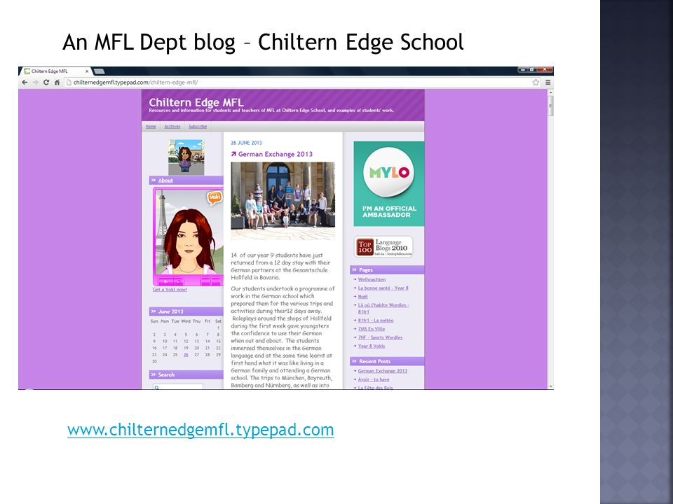 An MFL Dept blog – Chiltern Edge School www.chilternedgemfl.typepad.com