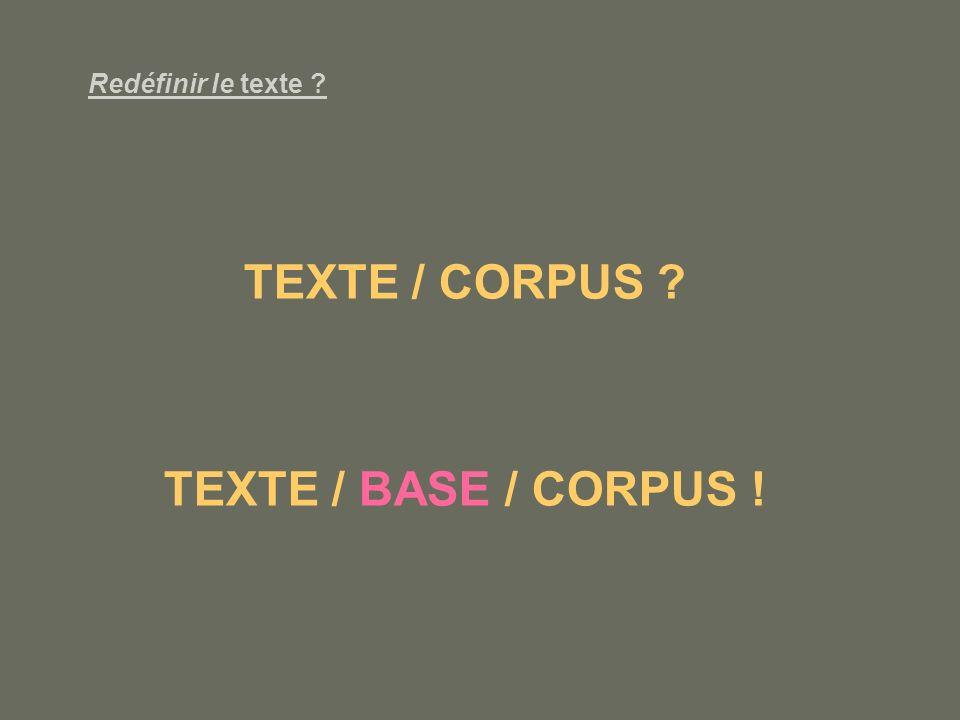 Redéfinir le texte ? TEXTE / CORPUS ? TEXTE / BASE / CORPUS !
