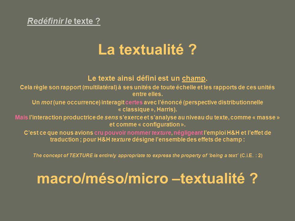 Redéfinir le texte .La textualité . Le texte ainsi défini est un champ.