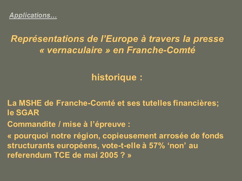 Applications… Représentations de lEurope à travers la presse « vernaculaire » en Franche-Comté historique : La MSHE de Franche-Comté et ses tutelles financières; le SGAR Commandite / mise à lépreuve : « pourquoi notre région, copieusement arrosée de fonds structurants européens, vote-t-elle à 57% non au referendum TCE de mai 2005 .