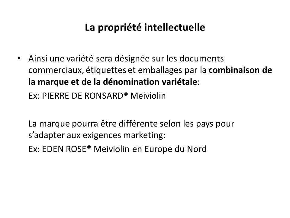 La propriété intellectuelle Ainsi une variété sera désignée sur les documents commerciaux, étiquettes et emballages par la combinaison de la marque et