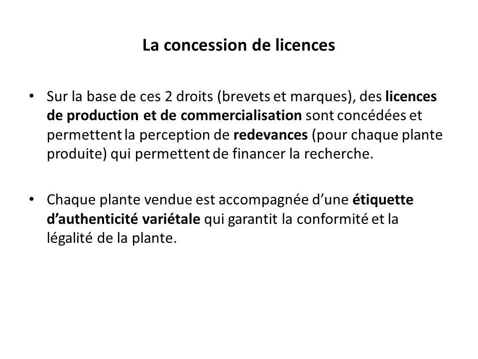 La concession de licences Sur la base de ces 2 droits (brevets et marques), des licences de production et de commercialisation sont concédées et permettent la perception de redevances (pour chaque plante produite) qui permettent de financer la recherche.
