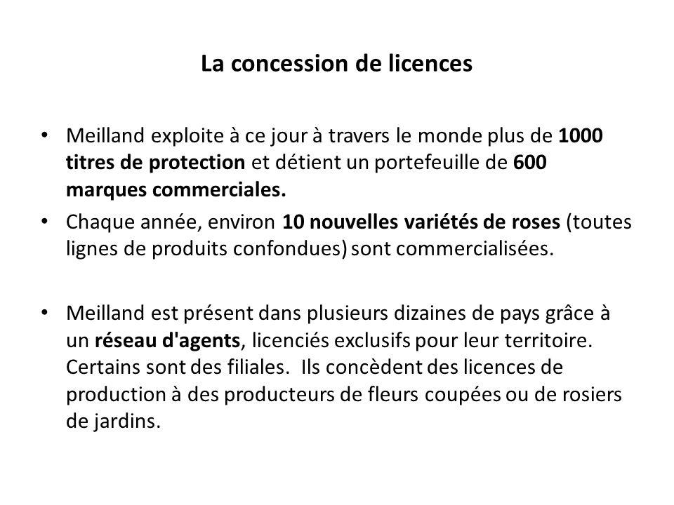Meilland exploite à ce jour à travers le monde plus de 1000 titres de protection et détient un portefeuille de 600 marques commerciales.