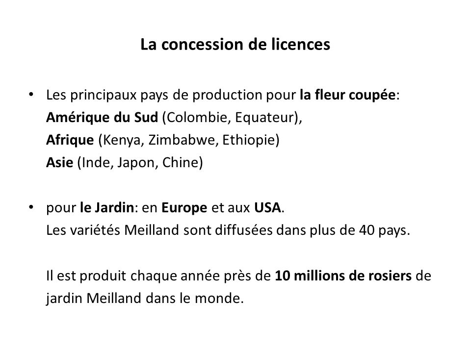 La concession de licences Les principaux pays de production pour la fleur coupée: Amérique du Sud (Colombie, Equateur), Afrique (Kenya, Zimbabwe, Ethiopie) Asie (Inde, Japon, Chine) pour le Jardin: en Europe et aux USA.