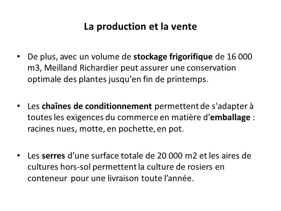 La production et la vente De plus, avec un volume de stockage frigorifique de 16 000 m3, Meilland Richardier peut assurer une conservation optimale de