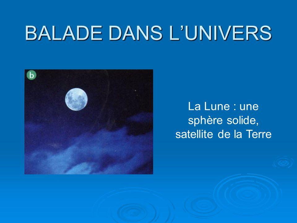BALADE DANS LUNIVERS La Lune : une sphère solide, satellite de la Terre