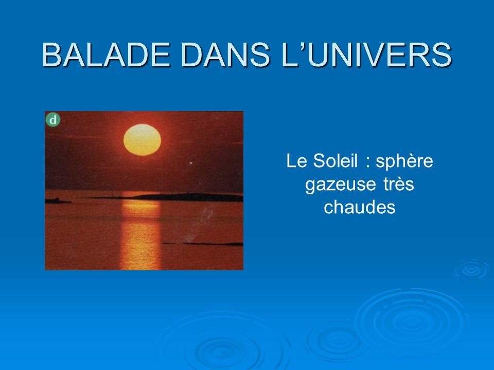 BALADE DANS LUNIVERS Le Soleil : sphère gazeuse très chaudes
