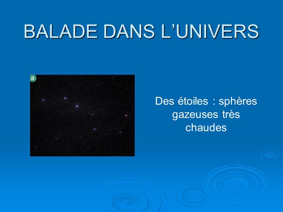 BALADE DANS LUNIVERS Des étoiles : sphères gazeuses très chaudes