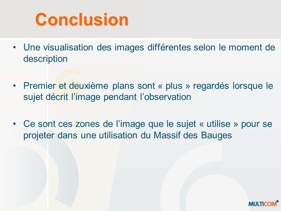 Conclusion Une visualisation des images différentes selon le moment de description Premier et deuxième plans sont « plus » regardés lorsque le sujet d