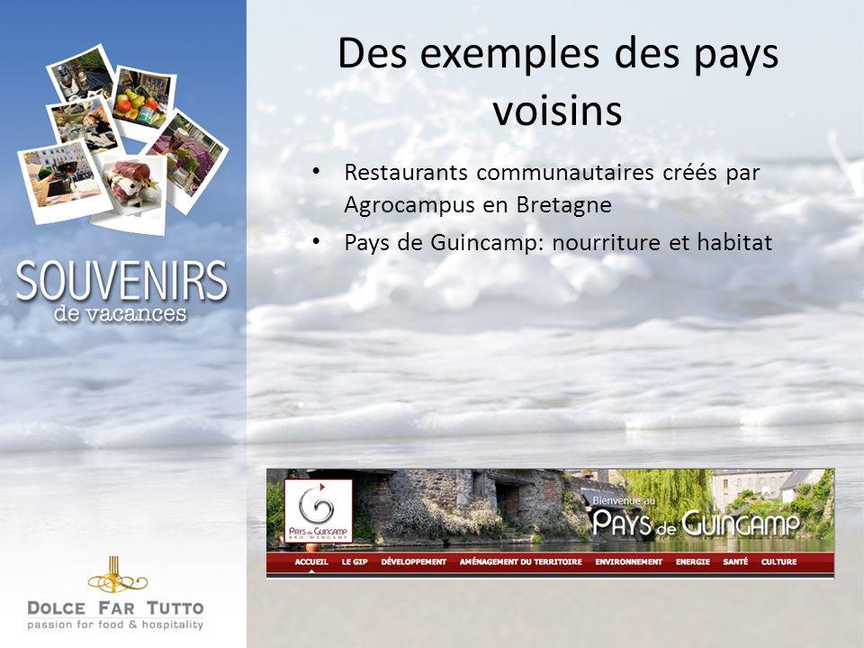 Des exemples des pays voisins Restaurants communautaires créés par Agrocampus en Bretagne Pays de Guincamp: nourriture et habitat