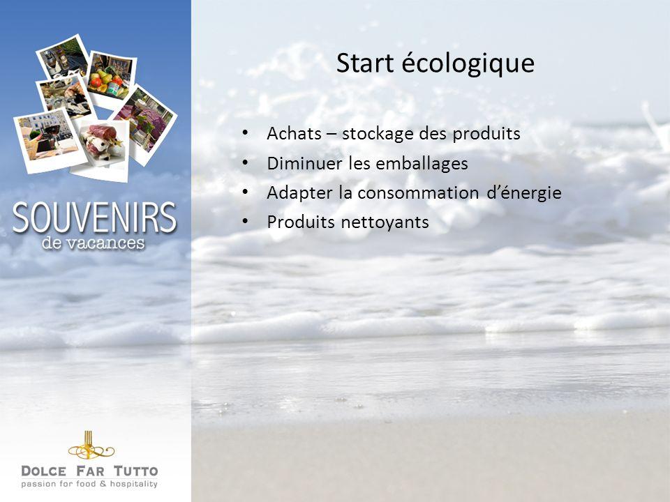 Start écologique Achats – stockage des produits Diminuer les emballages Adapter la consommation dénergie Produits nettoyants