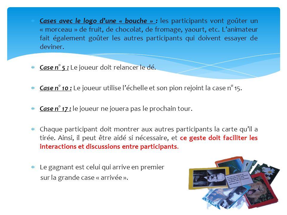 Cases avec le logo dune « bouche » : les participants vont goûter un « morceau » de fruit, de chocolat, de fromage, yaourt, etc. Lanimateur fait égale