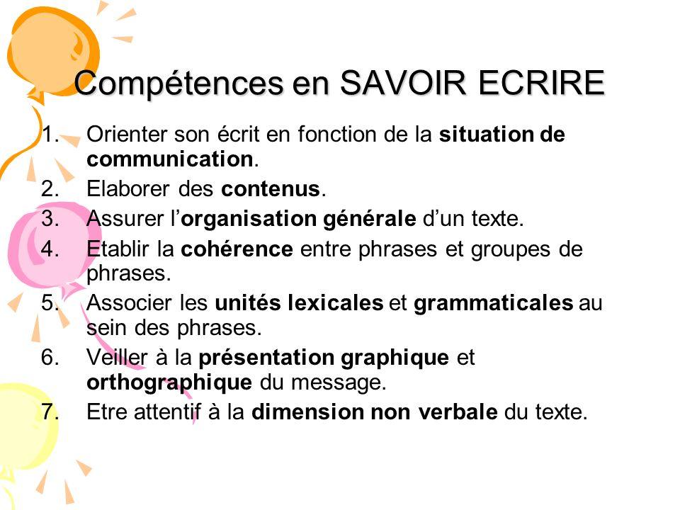 Compétences en SAVOIR ECRIRE 1. Orienter son écrit en fonction de la situation de communication. 2. Elaborer des contenus. 3. Assurer lorganisation gé