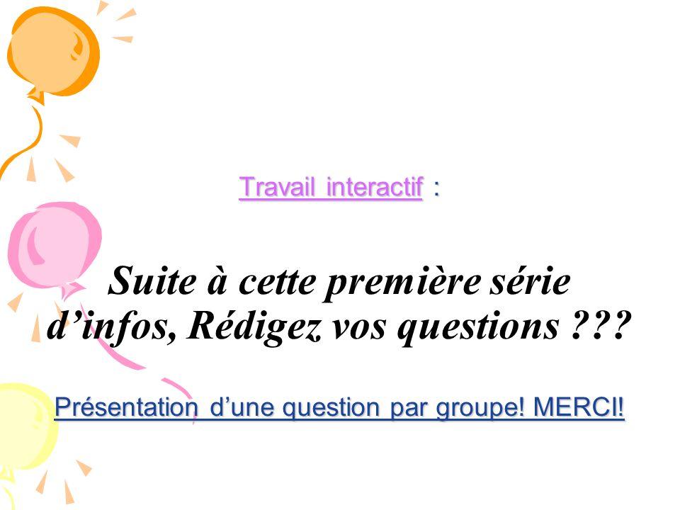 Travail interactif : Présentation dune question par groupe! MERCI! Travail interactif : Suite à cette première série dinfos, Rédigez vos questions ???