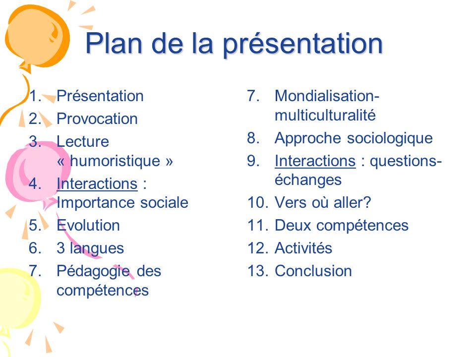Plan de la présentation 1. Présentation 2. Provocation 3. Lecture « humoristique » 4. Interactions : Importance sociale 5. Evolution 6. 3 langues 7. P