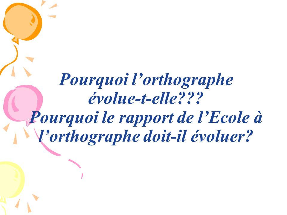 Pourquoi lorthographe évolue-t-elle??? Pourquoi le rapport de lEcole à lorthographe doit-il évoluer?