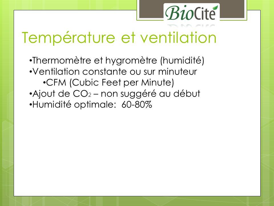 Température et ventilation Thermomètre et hygromètre (humidité) Ventilation constante ou sur minuteur CFM (Cubic Feet per Minute) Ajout de CO 2 – non suggéré au début Humidité optimale: 60-80%