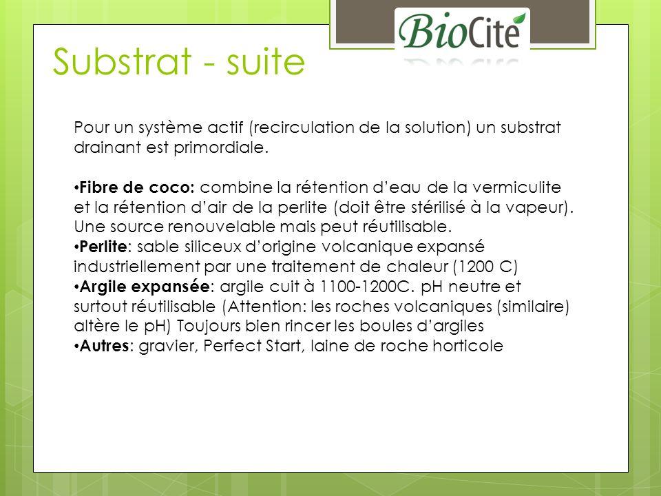 Substrat - suite Pour un système actif (recirculation de la solution) un substrat drainant est primordiale.